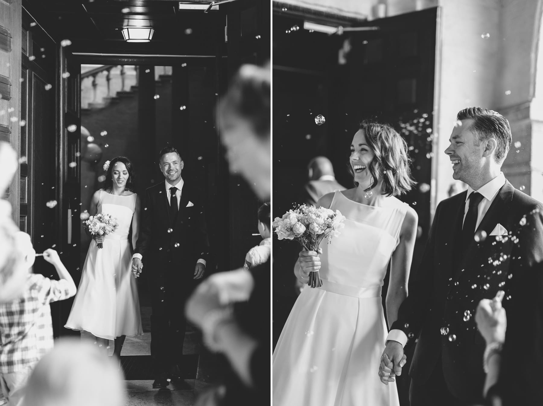 bride and groom stockholm city hall wedding